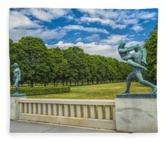 Vigeland Park Fleece Blanket