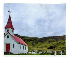 Vik Church And Cemetery - Iceland Fleece Blanket