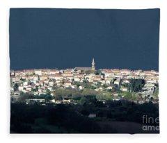 Village Before The Storm Fleece Blanket