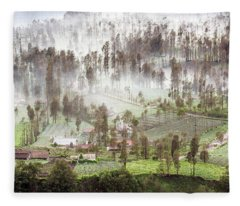 Fleece Blanket featuring the photograph Village Covered With Mist by Pradeep Raja Prints