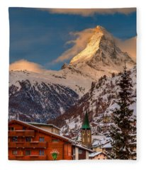 Village Of Zermatt With Matterhorn Fleece Blanket