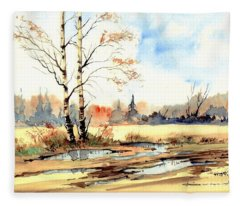 Village Scene I Fleece Blanket