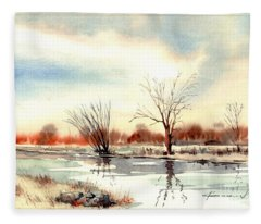 Village Scene II Fleece Blanket