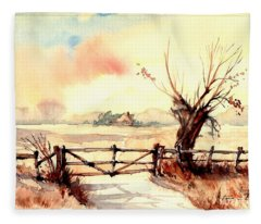 Village Scene IIi Fleece Blanket