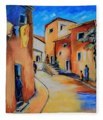 Village Street In Tuscany Fleece Blanket