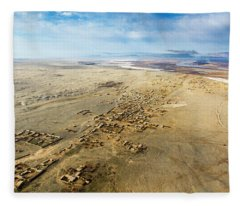 Village Toward Amu Darya River Fleece Blanket