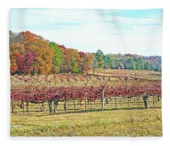 Vineyard In Autumn Fleece Blanket