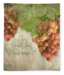 Vineyard - Napa Valley Vintner's Touch Pinot Grigio Grapes  Fleece Blanket