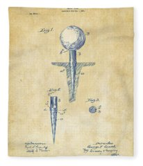 Vintage 1899 Golf Tee Patent Artwork Fleece Blanket