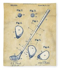 Vintage 1910 Golf Club Patent Artwork Fleece Blanket