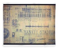 Vintage 1920s Art Deco Yankee Stadium Blueprint Fleece Blanket