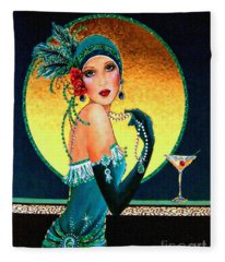 Vintage 1920s Fashion Girl  Fleece Blanket