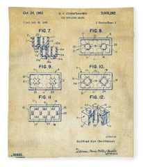 Vintage 1961 Lego Brick Patent Art Fleece Blanket