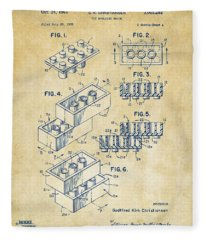 Vintage 1961 Toy Building Brick Patent Art Fleece Blanket