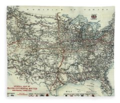 Vintage Aaa Map Of Us Transcontinental Routes - 1918 Fleece Blanket