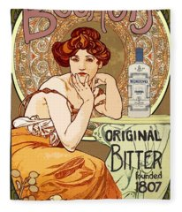 Vintage Art Nouveau Bechers Original Bitter 1807 Fleece Blanket