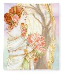Vintage Art Nouveau Flower Lady Fleece Blanket