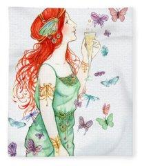 Vintage Art Nouveau Lady Party Time Fleece Blanket