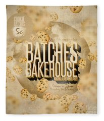 Vintage Bakery Ad - Batches Bakehouse Fleece Blanket