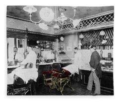 Vintage Barbershop 4 Fleece Blanket