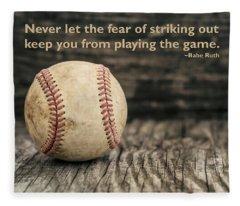 Vintage Baseball Babe Ruth Quote Fleece Blanket