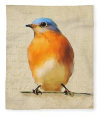 Vintage Bluebird Fleece Blanket