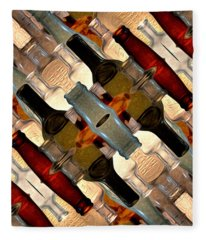 Vintage Bottles Abstract Fleece Blanket