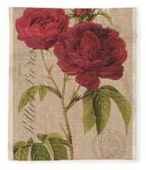 Vintage Burlap Floral 3 Fleece Blanket