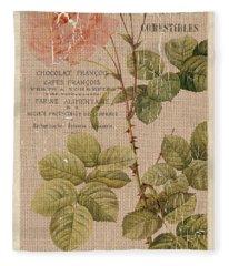 Vintage Burlap Floral 4 Fleece Blanket