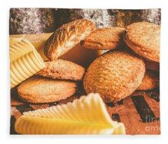 Vintage Butter Shortbread Biscuits Fleece Blanket