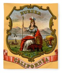 Vintage California Coat Of Arms Fleece Blanket