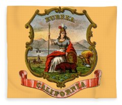 Vintage California Coat Of Arms Fleece Blanket