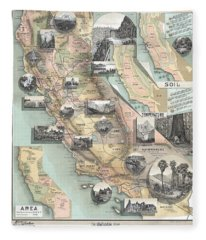 Vintage California Map Fleece Blanket