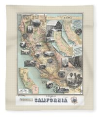 Vintage California Map Fleece Blanket
