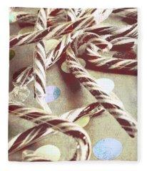 Vintage Candy Canes Fleece Blanket
