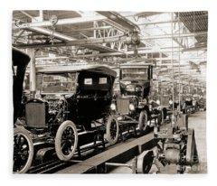 Vintage Car Assembly Line Fleece Blanket