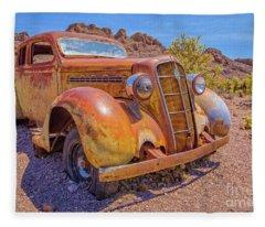Vintage Car In The Desert Hdr Fleece Blanket