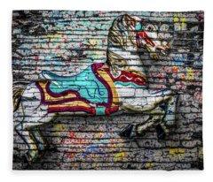 Vintage Carousel Horse Fleece Blanket