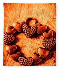 Vintage Circle Of Hearts Fleece Blanket