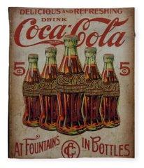 vintage Coca Cola sign Fleece Blanket