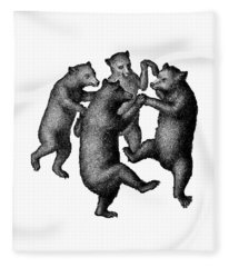 Fleece Blanket featuring the drawing Vintage Dancing Bears by Edward Fielding