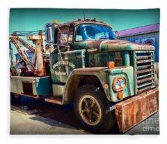 Vintage Dodge Tow Truck Fleece Blanket