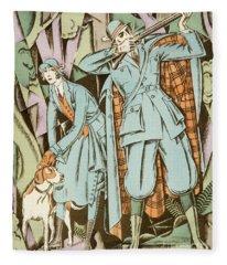 Vintage Fashion Plate Twenties Sporting Outfits Fleece Blanket