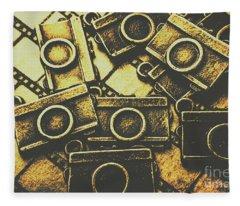 Vintage Film Camera Scene Fleece Blanket