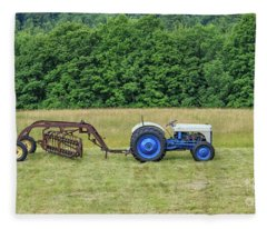 Vintage Ford Blue And White Tractor On A Farm Fleece Blanket