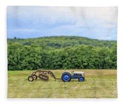 Vintage Ford Tractor Tilt Shift Fleece Blanket