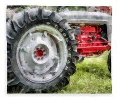 Vintage Ford Tractor Watercolor Fleece Blanket