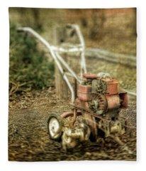 Vintage Garden Rototiller Near Split Rail Fence Fleece Blanket
