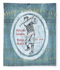 Vintage Golf Blue 2 Fleece Blanket