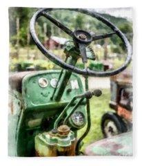 Vintage Green Tractor Steering Wheel Fleece Blanket